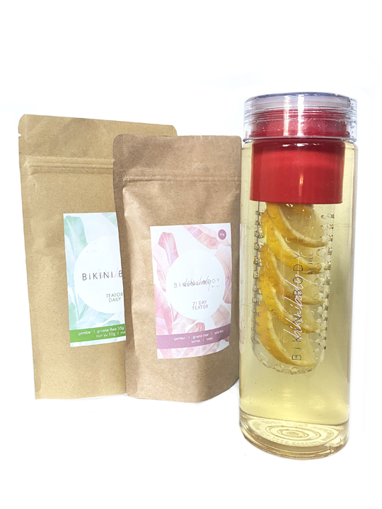 Bikini body drinkfles voor Teatox en Teatox daily on the go.